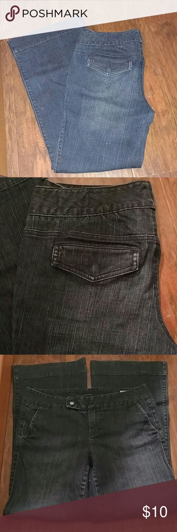 TOMMY HILFIGER AMERICAN SPLENDOR JEANS Design as Shown Excellent Used Condition Slight Flare Snap Back Pockets Darker Wash Tommy Hilfiger Jeans Flare & Wide Leg