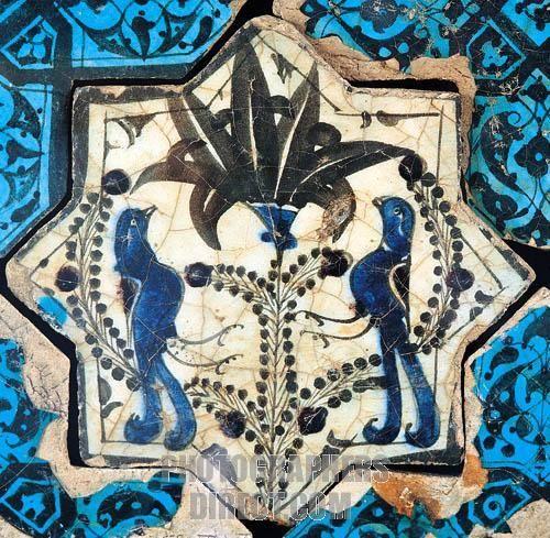 Seljuk tile life tree and birds figure A . D . 1236 Kubadabad Palace , Konya Karatay Madrasah Museum