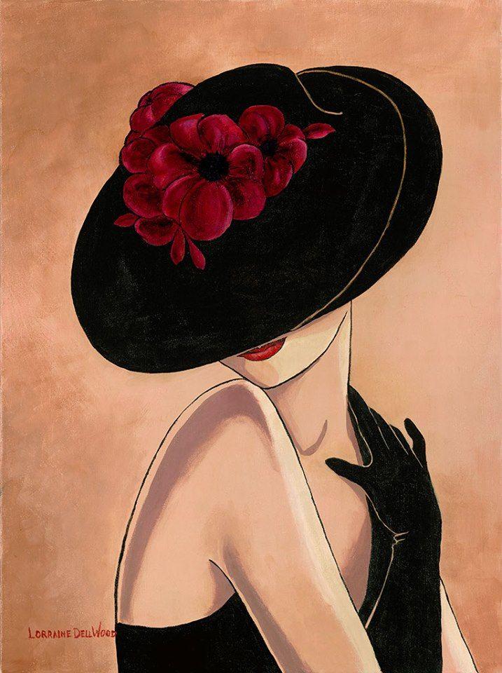 Фото Девушка в шляпе с цветами, прикрывающей ее лицо, художница Lorraine Dell Wood