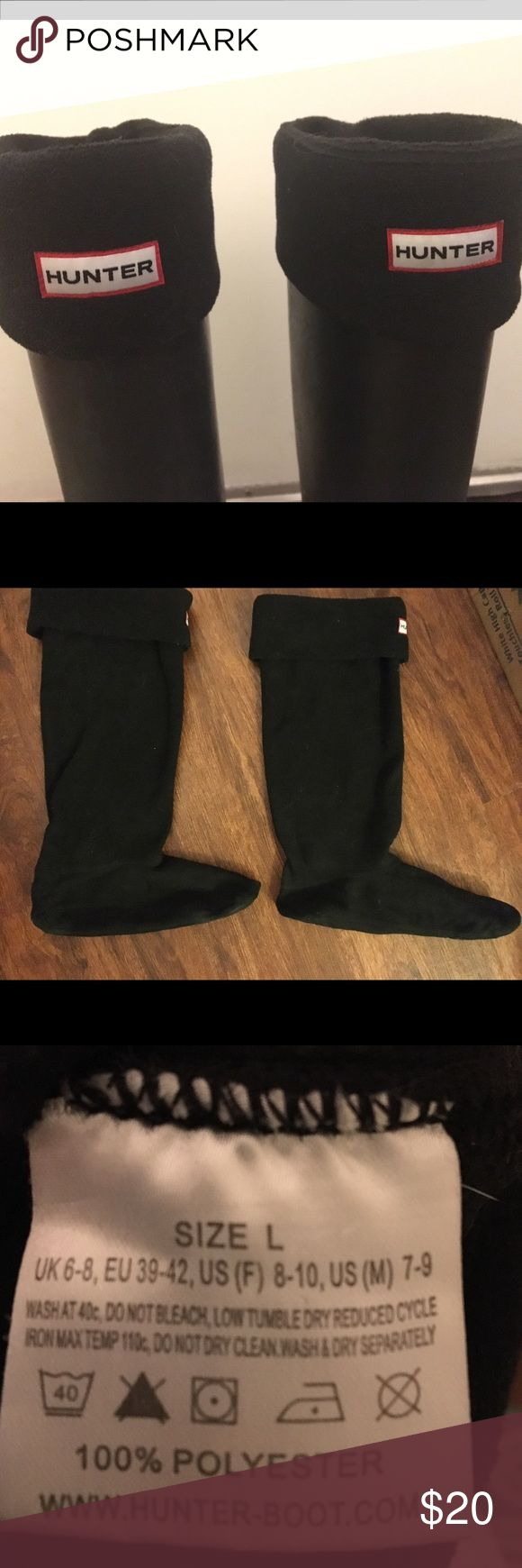 Tall black Hunter boot socks Black fleece boot socks for Hunter brand boots. Good condition. Gently worn. Can even be worn with non-hunter brand boots (cheap alternative to spending $150 on rain boots). Keep your feet warm and prevent the annoying flapping sound when you walk in some rain boots. Hunter Boots Accessories Hosiery & Socks