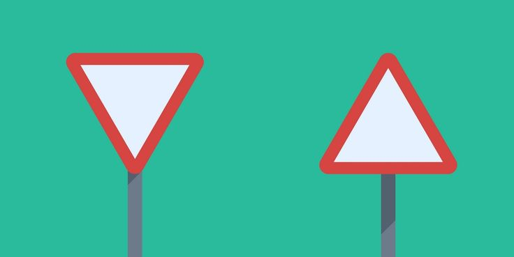 FLAT TRIANGLE ROAD SIGN White triangle with red outline sign, in two versions, standing on green background. You can find other sign templates on the site. #road #sign #flat #street #green #red #white #free #download #design
