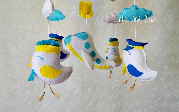 Baby mobile Happy flight Nursery decor Felt mobile Ceiling