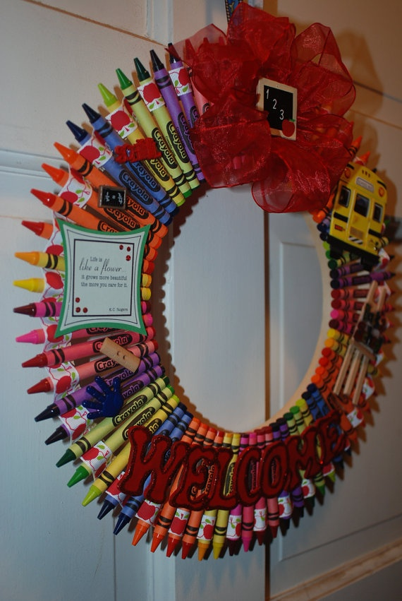 Teacher Crayon Wreath by AlliesGiftBoutique on Etsy