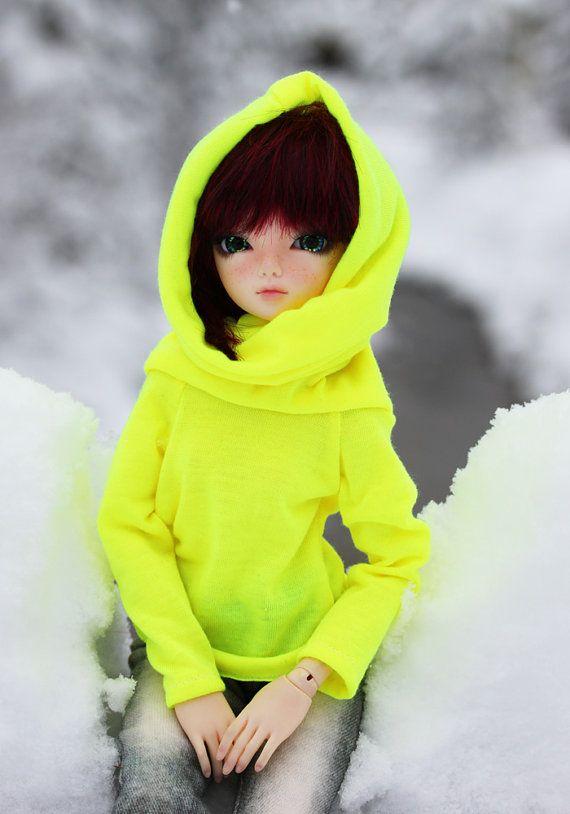 Neon Yellow | neon yellow hoody with convertible cowl for slim msd, minifee