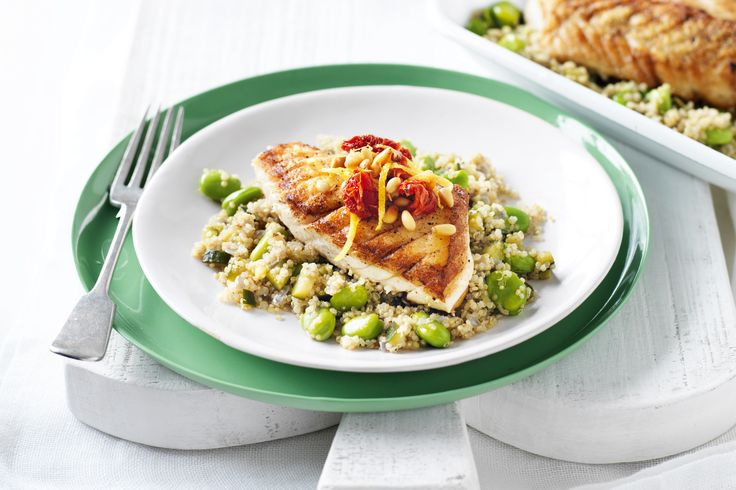 This high-protein fish dinner has lemon for zing, tomato for colour and vegies for wholesome goodness.