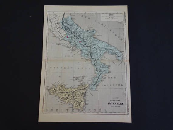 ITALY old map 1858 Kingdom of the Two Sicilies  antique French