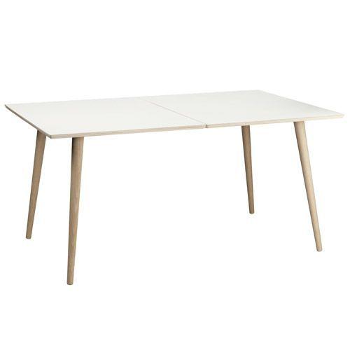 Living&more spisebord - Morgan - 102 x 150 cm Hvid bordplade i laminat med ben i bøgetræ - Coop.dk