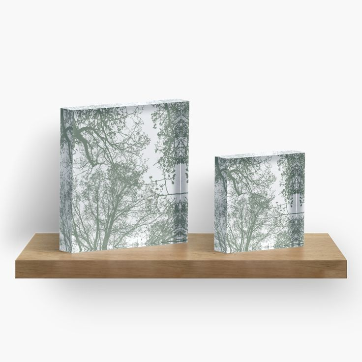 Abstract Trees Acrylic Block by ARTbyJWP from Society6 #acrylicblock #arprints #buyart #walldeco #abstract #greenandwhite #minimal ---     Silhouettes of trees on white background. • Also buy this artwork on home decor, apparel, stickers, and more.