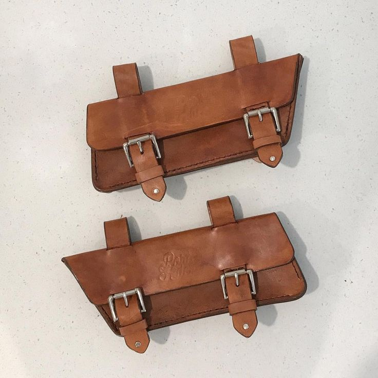 Pair of custom leather motorbike satchels by Port & Hide for a Kawasaki w800.