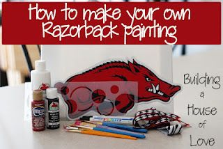 Make your own Razorback Painting: Razorback Crafts, Razorback Canvas Painting, Arkansas Razorbacks Crafts, Razorback Painting Oh, Diy Razorback, Razorbacks Wps, Diy Arkansas Razorback, Arkansas Razorbacks Diy, Hogs Wps