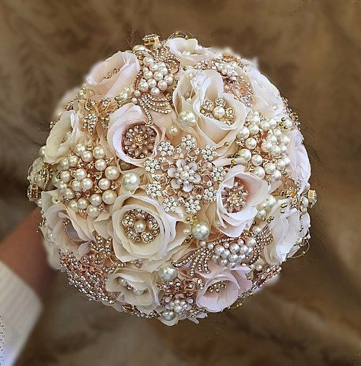 "CUSTOM Large 27"" in circumference Bridal Brooch Silk Flower Bouquet - $520 *** $520 - Full Price with Matching Grooms Boutonniere - $320  is the DEPOSIT to pla"