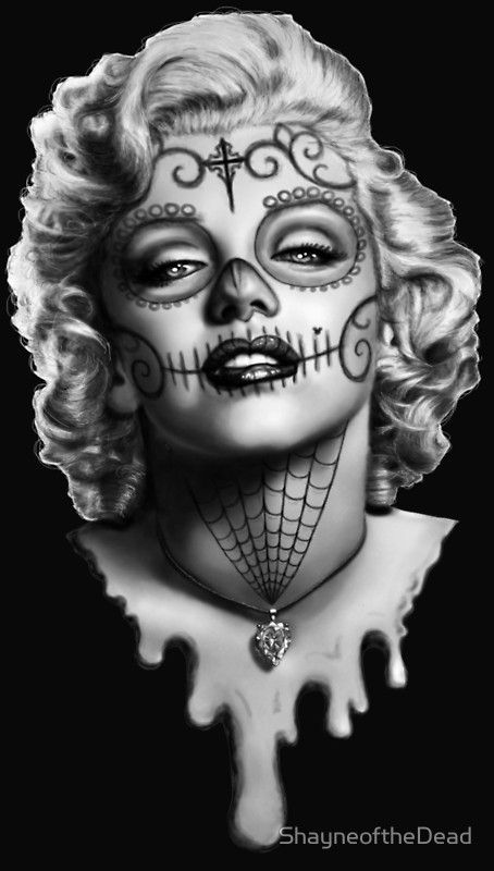 25 best ideas about sugar skull drawings on pinterest for Marilyn monroe with tattoos poster