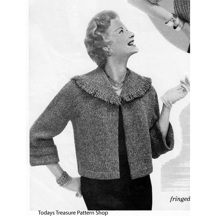 Knitting Pattern Circle Jacket : This vintage 1950s knitting pattern has instructions for a shortie jacket in ...
