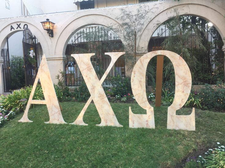 Alpha Chi Omega giant lawn letters sorority recruitment marble UCLA Alpha Psi ΑΧΩ