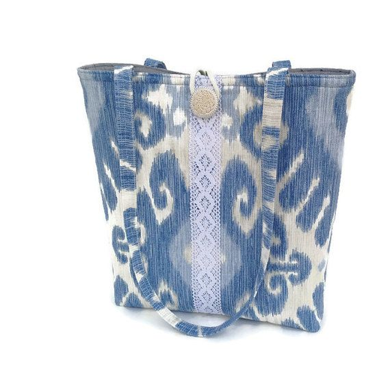 Blue handbag Fabric totebag Ikat print tote Lace purse