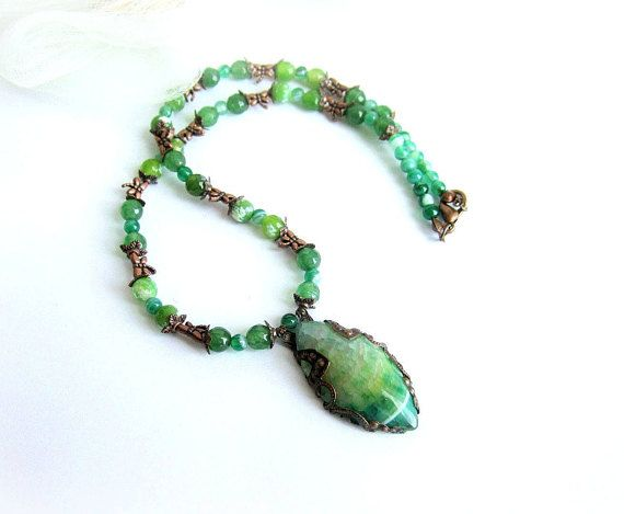 Green stone copper necklace agate beaded necklace gemstone