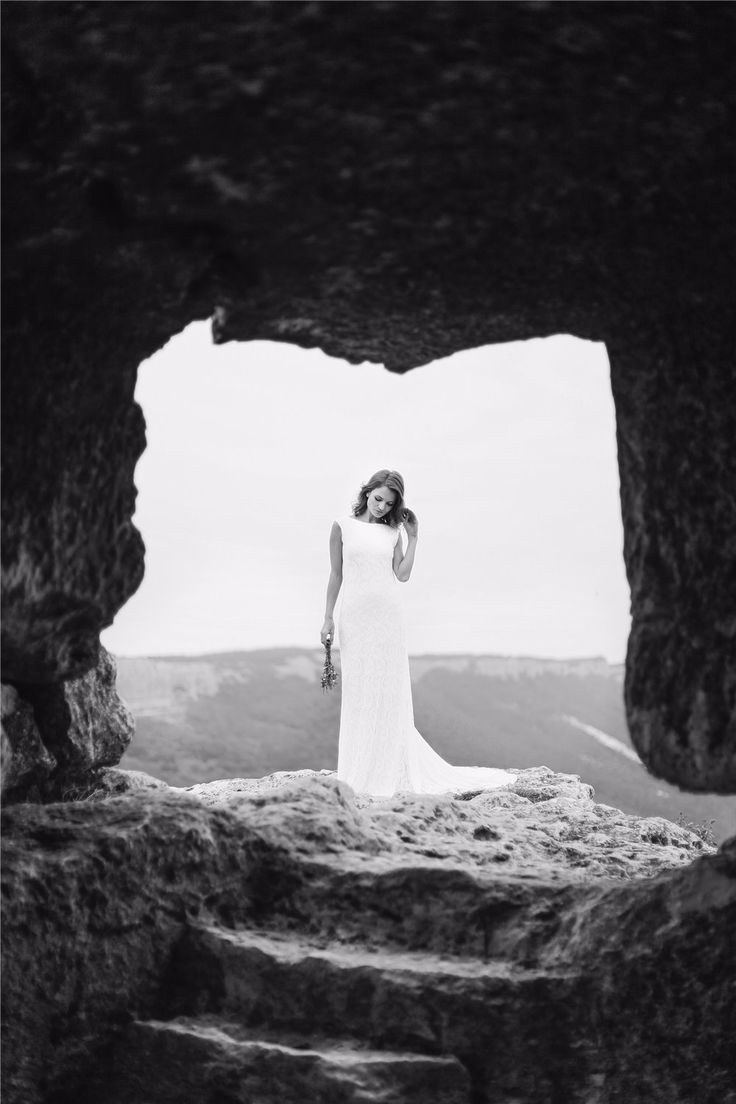 Photoshoot Marina in the ancient city of Mangup on a cliff top.. by Alexander and Marina Santi Fine Art Wedding Photographers alexandersanti.com