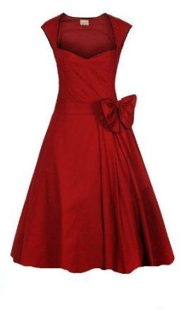 CLASSY VINTAGE 1950's ROCKABILLY STYLE RED BOW SWING PARTY EVENING DRESS…