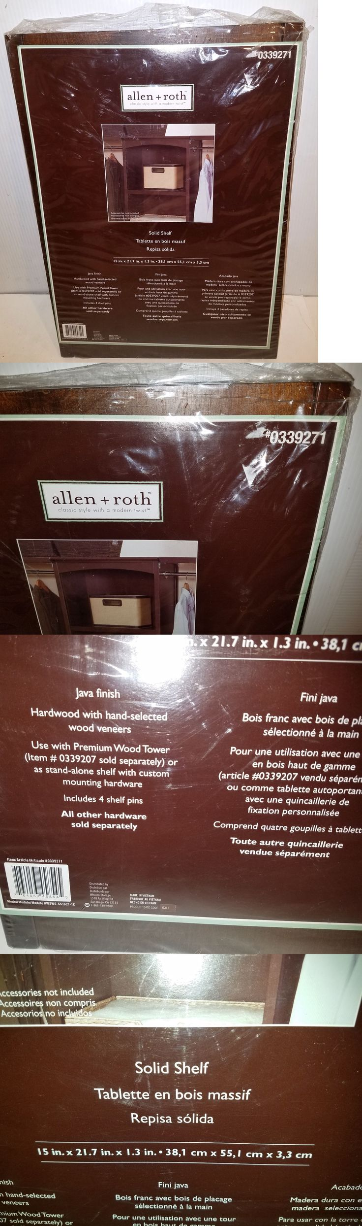 Closet Organizers 43503: Allen+Roth(Java Finish)Closet Hardwood Solid Shelf (15 X 21.7 X 1.3 ) #0339271 -> BUY IT NOW ONLY: $79.99 on eBay!