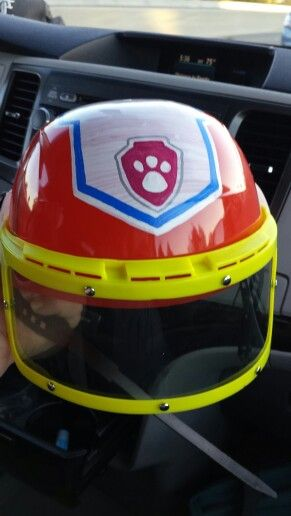 Ryder (from Paw Patrol) helmet for my son's Halloween costume!  Thank you @thepaperrabbit !