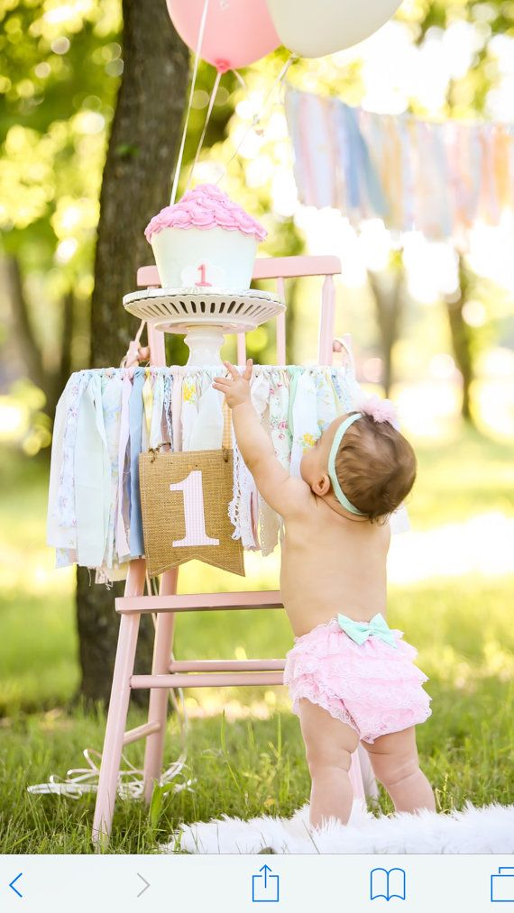 High Chair Banner. Girls First Birthday Party Supplies.  Shabby Chic High Chair Banner with Burlap Flag.  Your Choice of COLORS