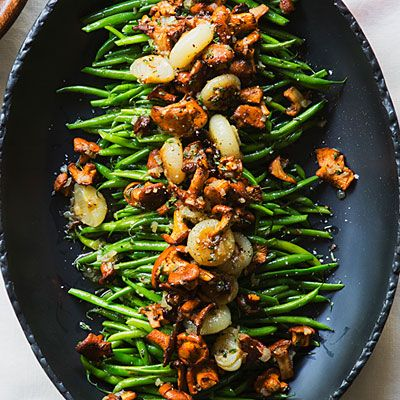 Chanterelle mushrooms and cipollini onions give green beans a sophisticated twist. #thanksgiving