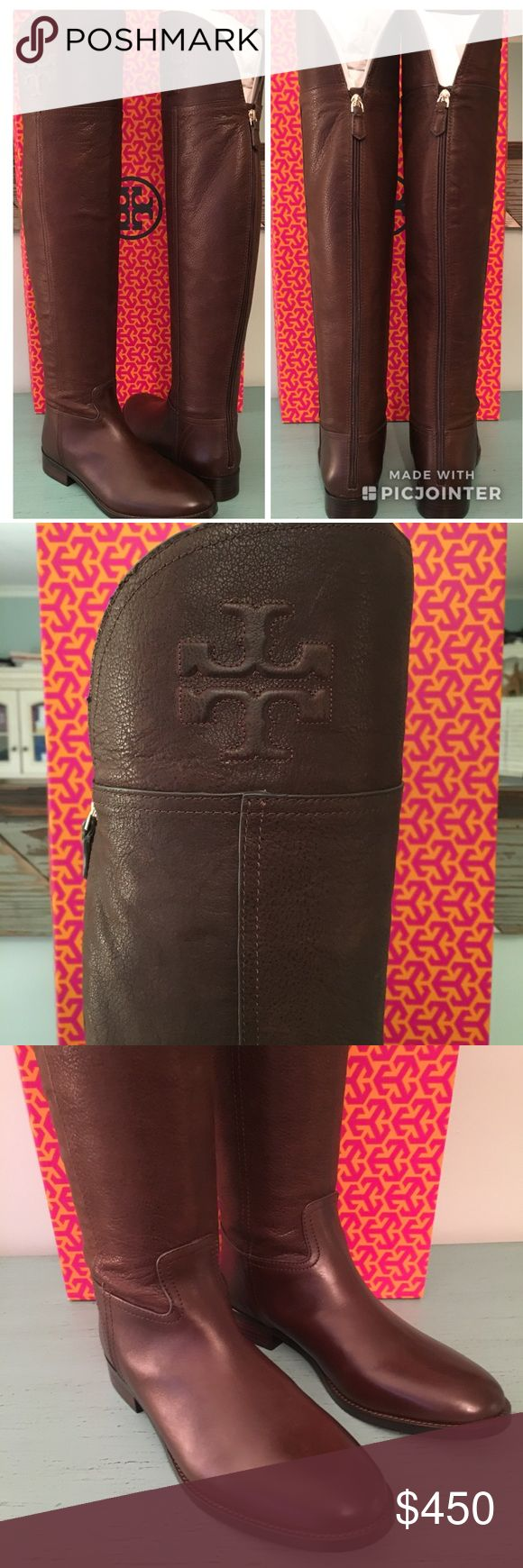 """Tory Burch Chocolate Simone Over the Knee Boots NWT! Gorgeous and so comfortable pebbled chocolate leather. Simone Over-the-Knee Boot in subtly distressed leather makes a solid choice. Detailed with a raised double-T logo and a back zip, it's a modern and versatile take equestrian-inspired style. Looks great with: The short and feminine above-the-knee skirts and dresses Or skinny denim, super-slim pants and leggings Heel height: 1.4"""" (3.5 cm) Leather upper. Zipper closure. Leather lining and…"""