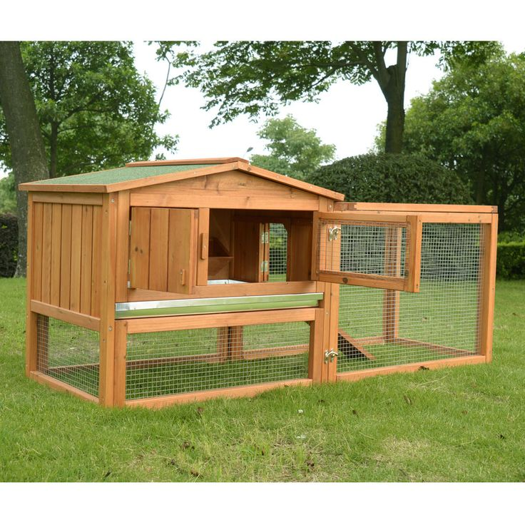Pawhut wooden small animal house rabbit hutch bunny cage w for Wooden rabbit hutch plans