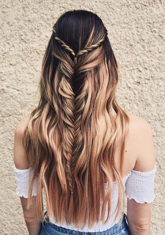 46 Best Half-up Fishtail Braids with Smooth Shiny Waves Hair Looks