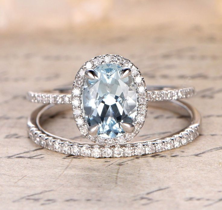 Oval Aquamarine Engagement Ring Sets Pave Diamond Wedding 14K White Gold 7x9mm