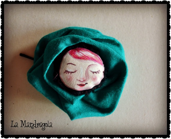 Fabric Flower illustrated hair pin by Mandragola on Etsy, €5.50 #etsy