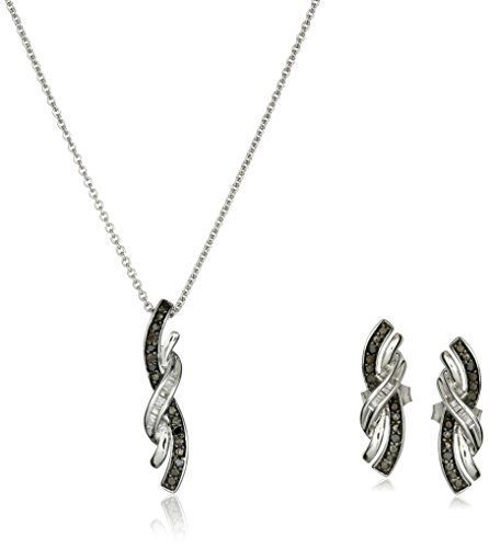 186 best sterling silver and diamond rings images on pinterest sterling silver black and white diamond pendant and earrings box set 16 cttw aloadofball Choice Image