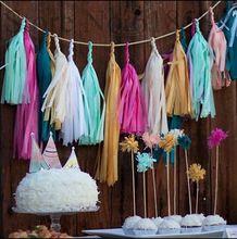 14 inch( 35cm) mylar zijdepapier kwastje guirlande glanzende metallic goud bruiloft decoraties verjaardagen feest 25 diverse kleuren(China (Mainland))