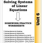 Eight worksheets on Solving Systems of Linear Equations and their Word Problems . These are the exact homework worksheets I give my own students fo...