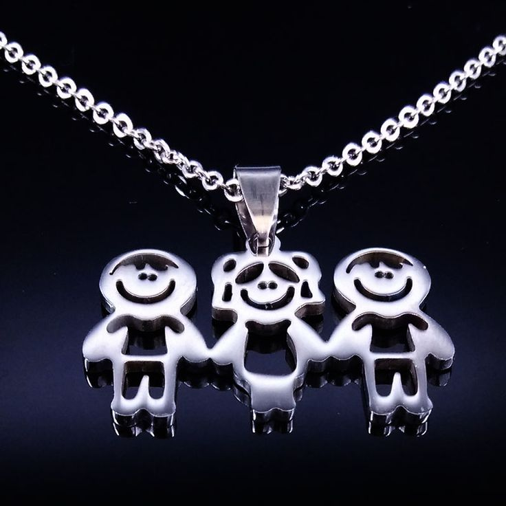 Stainless Steel Mama Children Statement Necklace Jewelry Doll Pendant Necklaces Jewellery Best friend Necklace Women Kids N67122