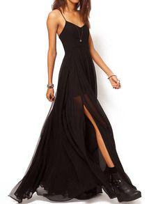 Black Spaghetti Strap Split Chiffon Maix Dress