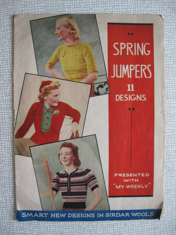 1930s My Weekly  Spring Jumpers Knitting Booklet - 11 Designs - Coatee Cardigan, Cap