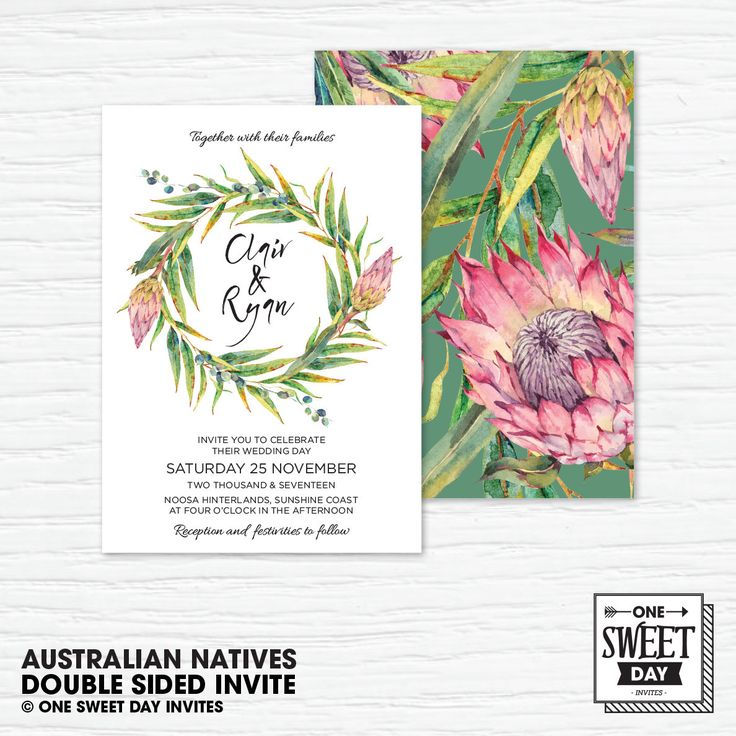 Wedding Invitation Printable, Australian, Native Flowers, Eucalypt Leaves, Protea, Nature, Country Wedding, green and pink, diy print by OneSweetDayInvites on Etsy