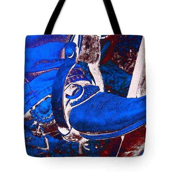 All Tote Bags - Electric Blue Cowboy Boot Tote Bag by Amanda Smith