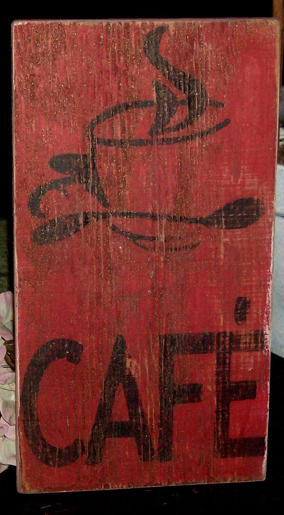 Shabby Chic Distressed Cafe/Coffee Sign by ATouchofChic on Etsy, $20.00