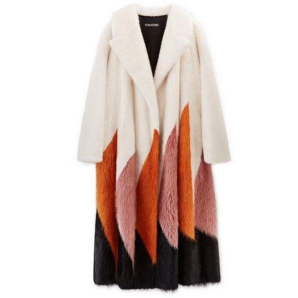 ZORAN INTARSIA LONG FUR COAT (44,360 MYR) ❤ liked on Polyvore featuring outerwear, coats, long pink coat, pink coat, tom ford coat, fur coat and tom ford