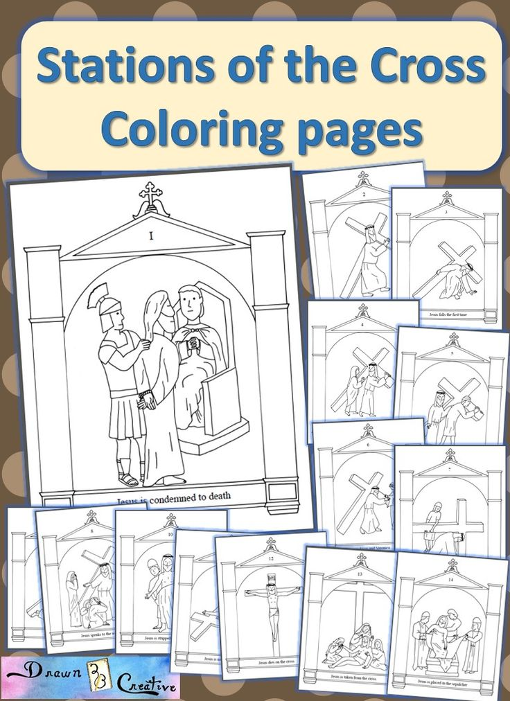 All 14 Stations of the Cross in coloring pages with a grotto boarder for preschool age and up.