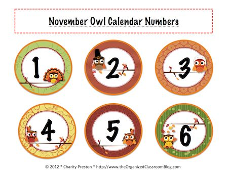 WHOOOOO Loves November? - Free Printables of Owl Numbers from The Organized Classroom Blog {Use with Owl Week}