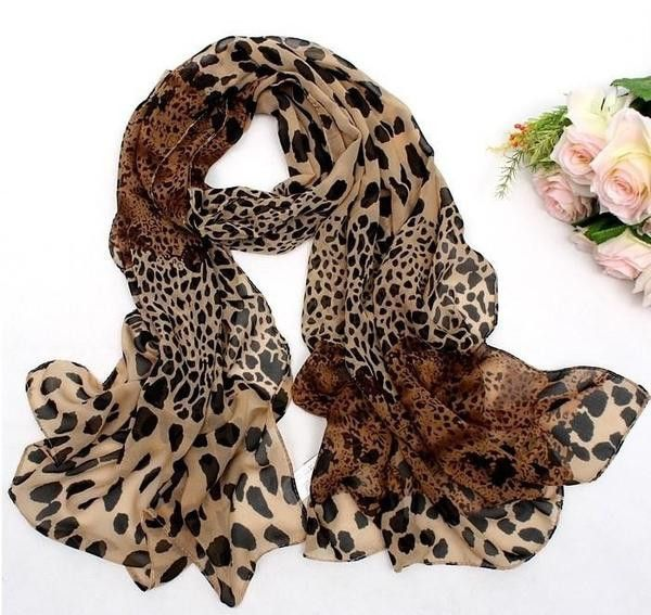 Charlee Cooper Long Soft Wrap Leopard Print Chiffon Scarf