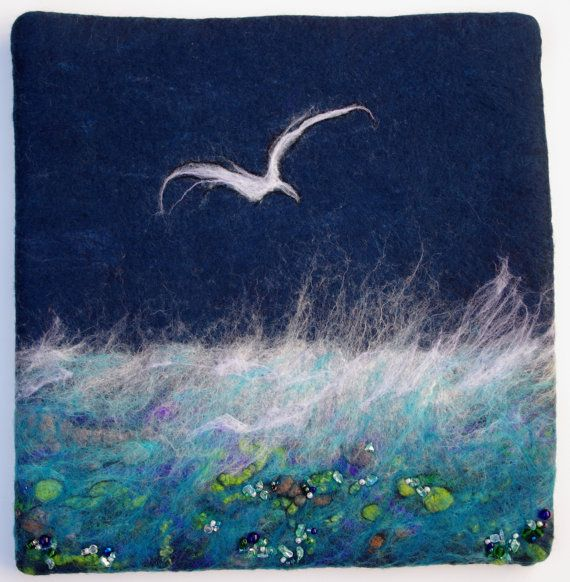 Felted Seascape. Fibre Art. Felted Wall Hanging. Beaded by LJSoar