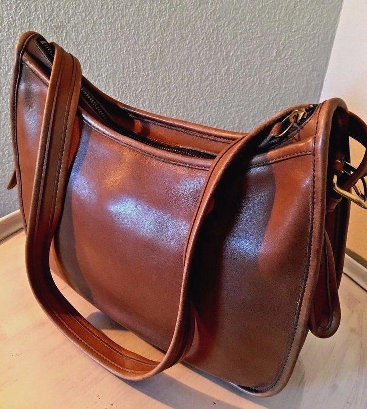 Rare Large Coach Vintage Hobo British Tan Leather Bag Handbag Purse Vtg USA Made #Coach #Hobo