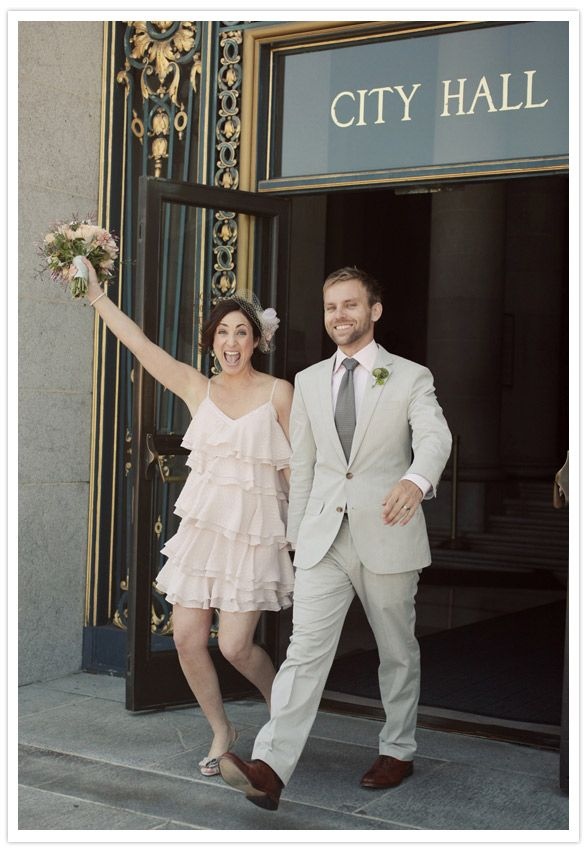 Cute Ruffled Dress At An City Hall Wedding In SF!