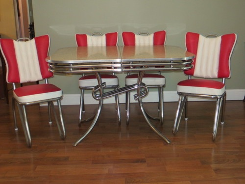 RARE Style READY TO USE 1950u0027s ART DECO CHROME U0026 FORMICA KITCHEN TABLE U0026  CHAIRS