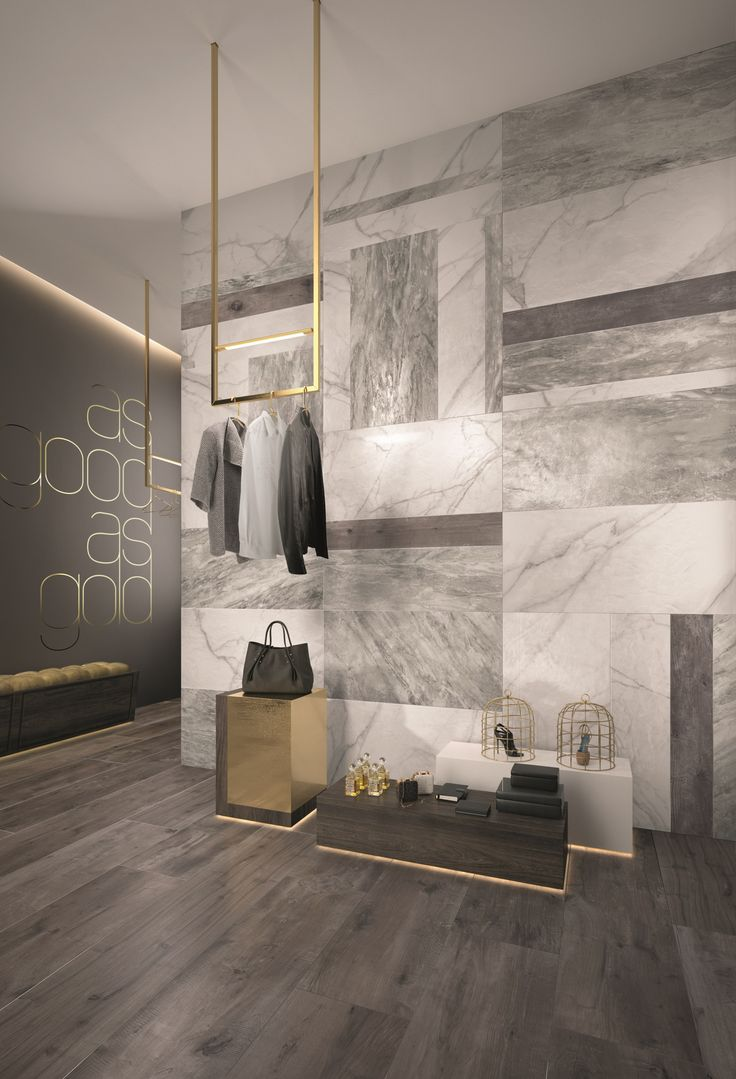 3D rendering of a retail space displaying Flaviker's SUPREME tile collection…