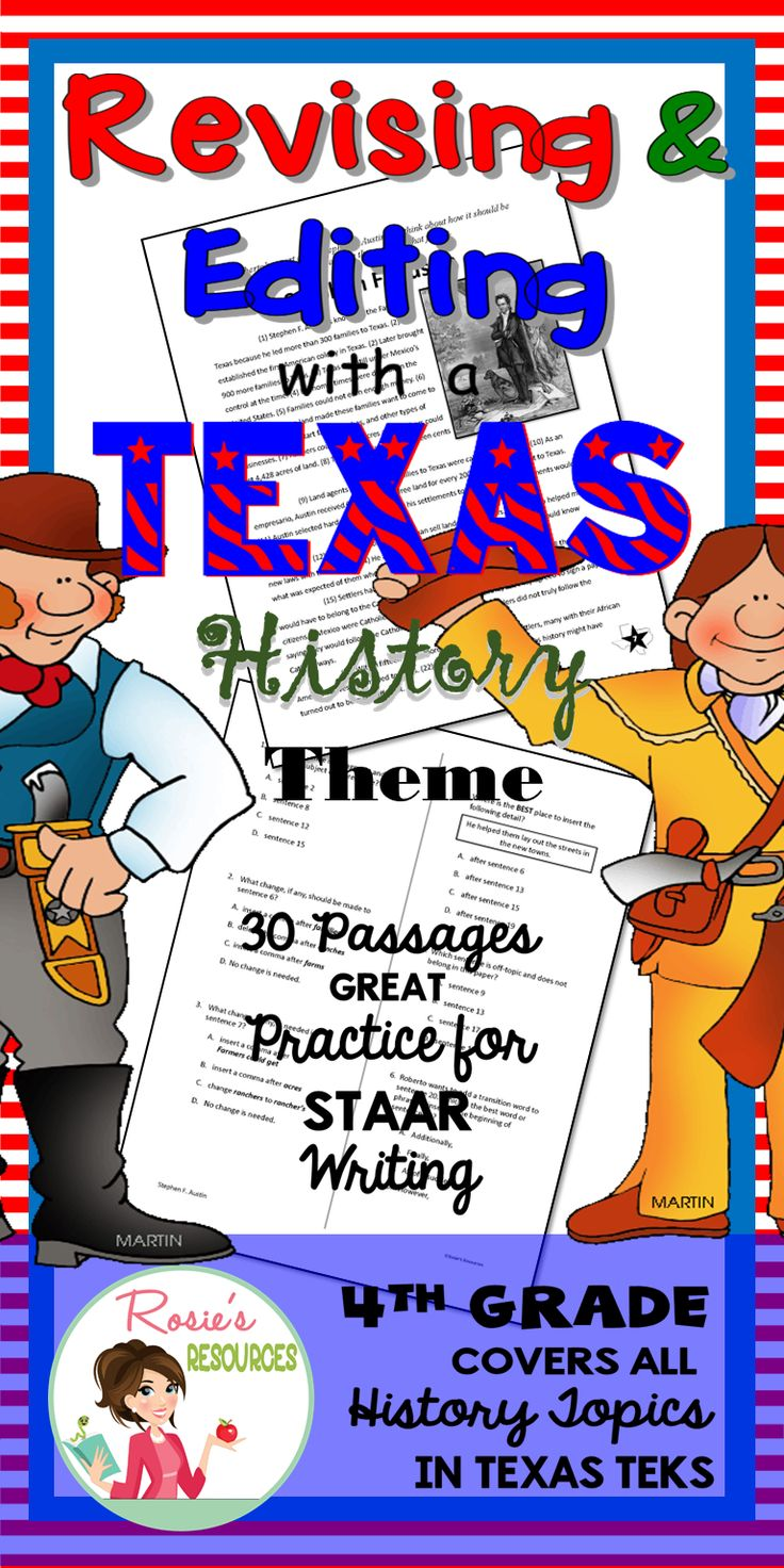 This Revising and Editing - Texas History bundle includes 30 passages to practice for the STAAR writing test. All are based on 4th grade Texas history TEKS for cross-curricular instruction.